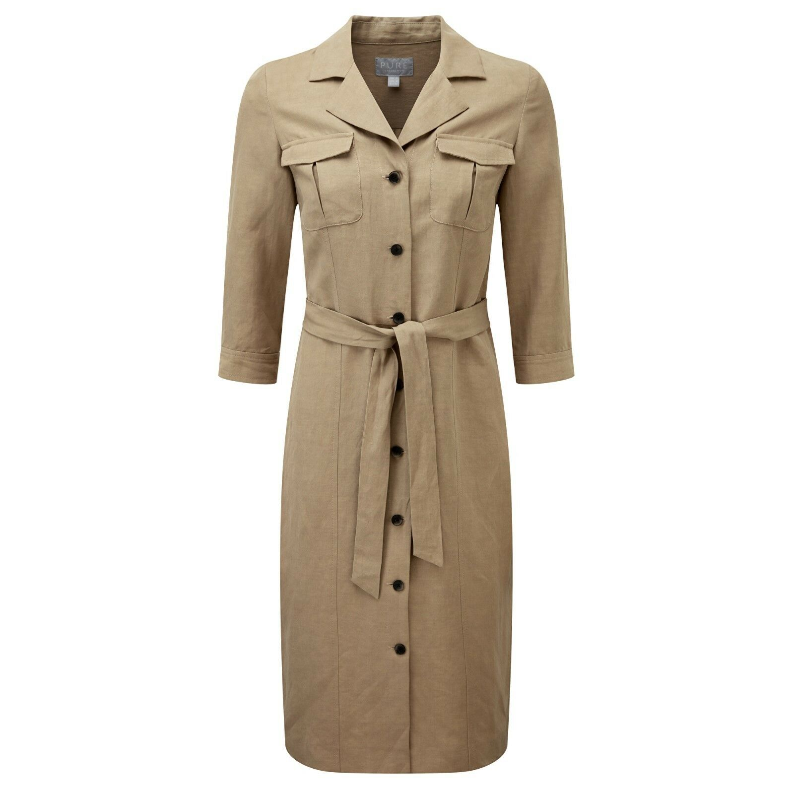 BNWT Pure Collection Silk Linen Shirt Dress - Dark Stone UK Size 10 RRP