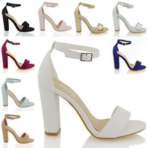 49008264fd0 Womens Ankle Strap Sandals Block High Heel Ladies Peeptoe Bridal ...