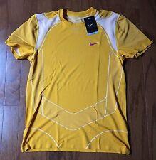 Rare NIKE 2010 rafa nadal Tennis crew federer polo T-Shirt SZ:Medium Yellow