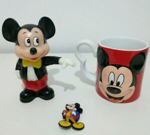 Rare-Vintage-Disney-Mickey-Mouse-Collectables-Money-Box-Mug-Cup-Pin-Badge-Set