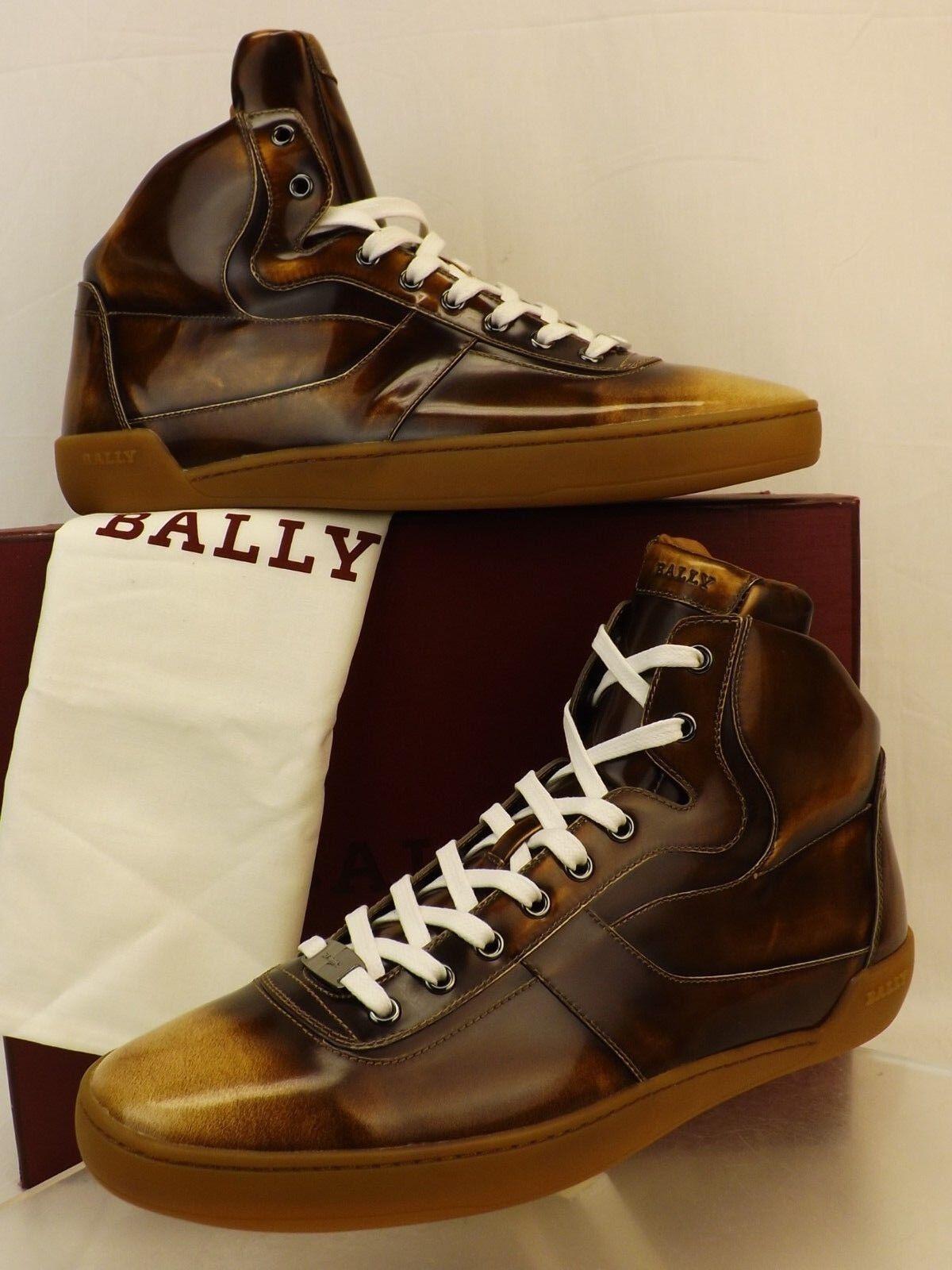NIB BALLY EROY CUIR BRUSHED LEATHER LOGO HI TOP LACE UP scarpe da ginnastica 8.5 D US 41.5