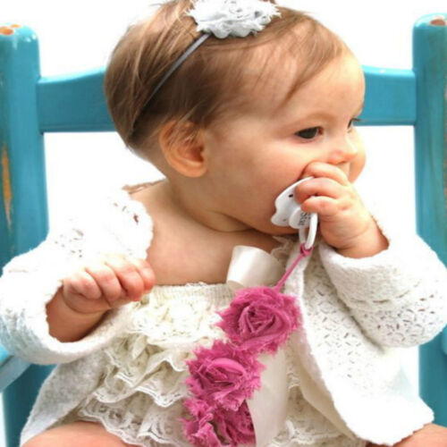Baby Girls Infant Rose Flower Dummy Pacifier Clip Teething Soother Holder Chain