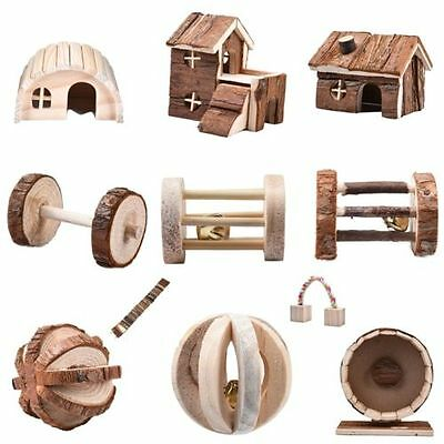 Hamster Mouse Natural Wood Ball Wheel Dumbells Villa House Cage Exercise Toys