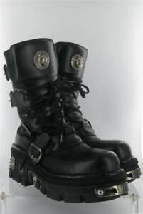 NEW ROCK REACTOR BLACK BOOTS EMO ANATOMICAL SOLE SIZE 9 UK