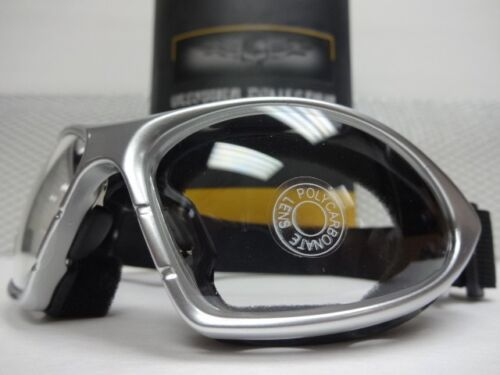 PADDED MOTORCYCLE Day or Night RIDING GOGGLES With Strap Silver Frame Clear Lens