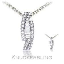 0.50ct F vs Auténtico Diamante Colgante de oro blanco 18ct + cadena Baguette Brillante