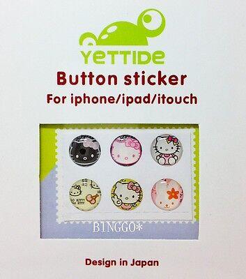 6 Pcs Home Button Sticker for Apple iPhone 5 5c 4 4S iPad mini 1 2 3 Hello Kitty