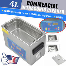Stainless Steel 4l Liter Industry Ultrasonic Cleaner Heated Heater With Timer Us