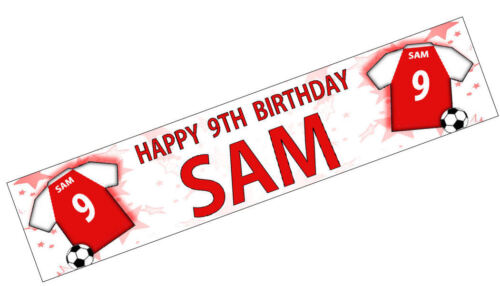 PERSONALISED BANNER NAME AGE PHOTO BIRTHDAY FOOTBALL 33rd 34th 35th 36th red K2