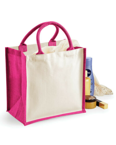 Westford Mill SACCO IUTA Colori A Contrasto Eco Friendly Pranzo Regalo Shopper Naturale