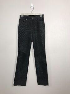 Wilsons-Maxima-Black-Suede-Leather-Womens-Pants-Size-2-Vintage-M-Design-Bikers