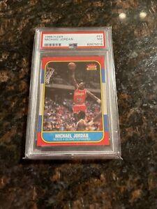 1986-87 Fleer Basketball Michael Jordan Rookie Card # 57 PSA 7 Near Mint