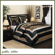queen full comforter bed set 7 piece bedding white gold accent