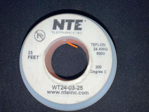 "Details about  /NTE WT24-03-25  24 awg 19 Strand Type /""E/"" Teflon Orange 200°C@600V 25 ft spool"