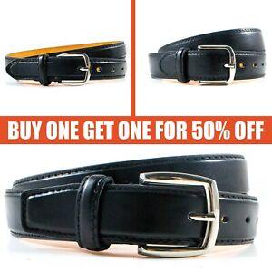 Men-039-s-Genuine-Leather-Metal-Buckle-Casual-Dress-Comfort-Jean-Belt-Black-M-L-XL