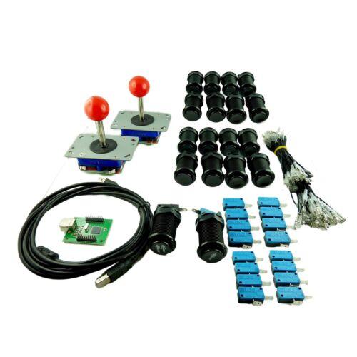 Kit Joystick Arcade 2 joueur Bouton Americain Noir Carte USB Mame USB