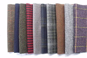 """9/"""" Tweed Patchwork 100/% Wool Remnant Offcuts Squares 20 Pieces 23cm"""