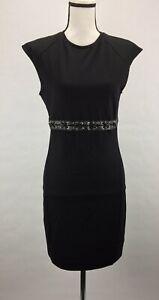 Diesel-Women-s-D-RAENEW-Sheath-Dress-Capped-Sleeve-Leather-Trim-Black-188-NWT
