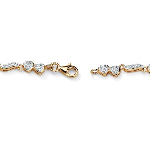 WOMENS 18K GOLD OVER STERLING SILVER DIAMOND HEART ANKLE BRACELET ANKLET