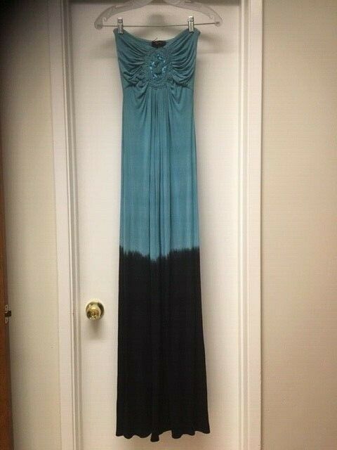 NWT SKY BRAND Strapless Maxi Dress Navy Blau Ombre Crochet Trim Sz XS NEW