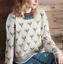 Size 8-18 - 1212 Ladies Flower Motif Fair Isle Jumper Knitting Pattern