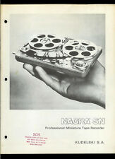 Super Rare Nagra SN Professional Miniature Tape Recorder Dealer Brochure