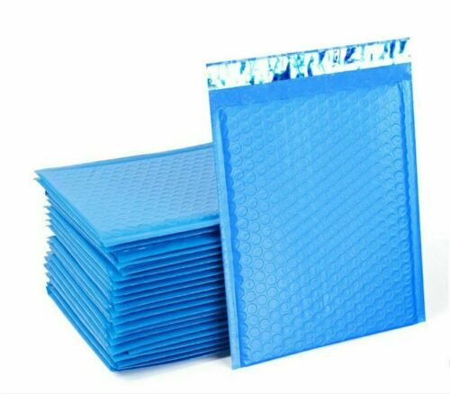 Details about  /50 Blue  Poly Bubble Padded Envelopes Self-Sealing Mailers 4X8 Inner 4x7