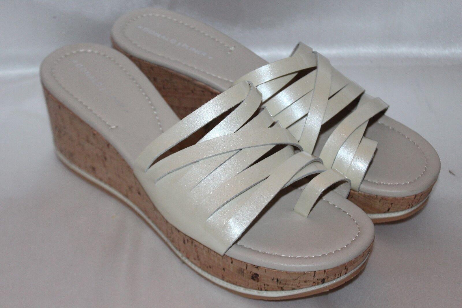 NEW  DONALD J PLINER Pearl White SHEENA2 Cork Platform Wedge Sandals 8.5  198