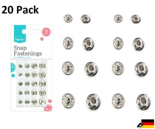 20er Druckknöpfe Set aus Metall zum Annähen 4 Größen Basteln Nähen Knopf Knöpfe