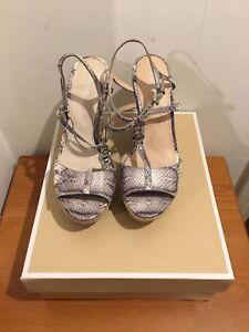 f8c86c39329b Image is loading MICHAEL-KORS-Animal-Print-Bethany-Wedge-Sandals-Shoes