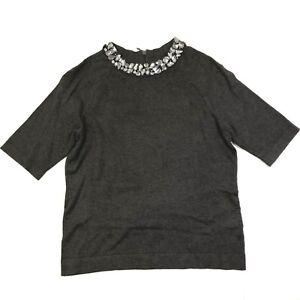 Jones new york collection short sleeve mesh jeweled neckline sweater grey medium