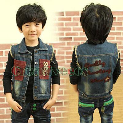 Fashion Cute Casual Denim Vest Kids Toddlers Boys Girls Letter Hole Clothes Vest