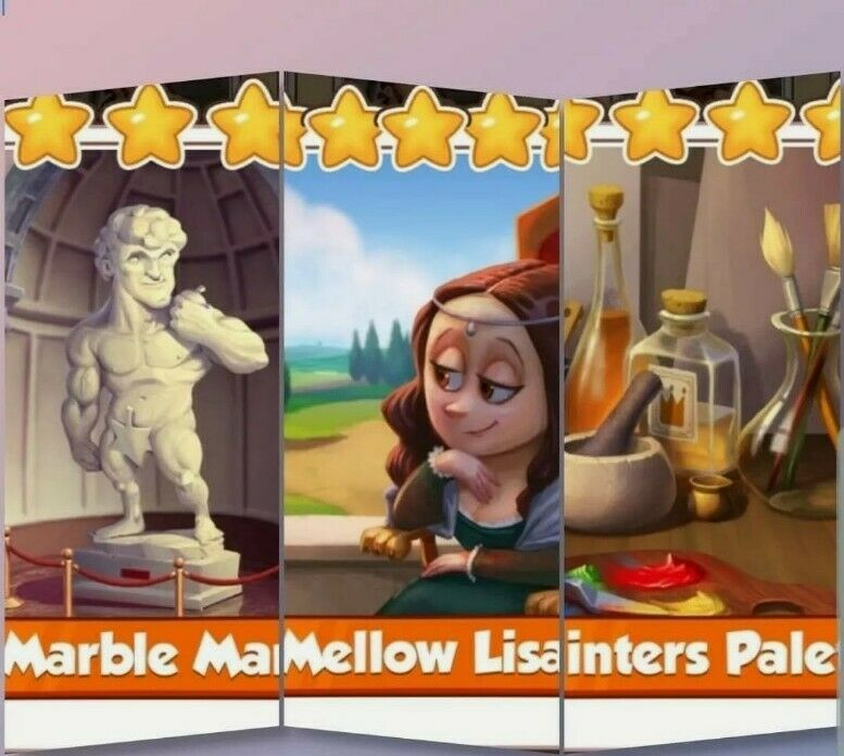 Marble Man, Mellow Lisa and Painters Palette From Artist Set, Coin Master Cards