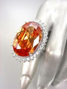 STUNNING-Chunky-Champagne-Brown-Topaz-CZ-Crystal-CZ-Crystals-Oval-Cocktail-Ring