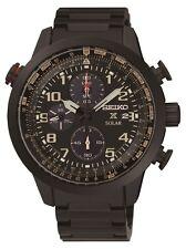 New Seiko SSC419 Prospex Sky Flight Black IP Stainless Steel Strap Mens Watch