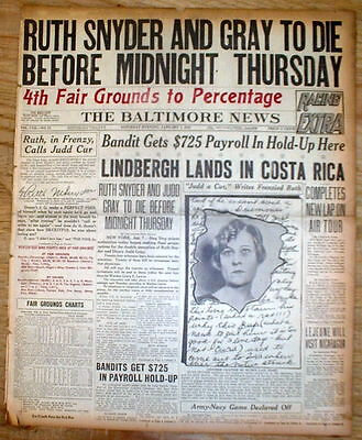 Diplomatic 1927 Headline Display Newspaper Ruth Snyder To Die In Electric Chair For Murder Utmost In Convenience Mobs, Gangsters & Criminals Paper