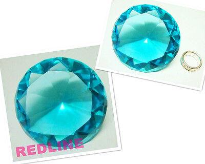 Aqua Blue Decorative Round Crystal Diamond Shaped Paperweight- 4.00''