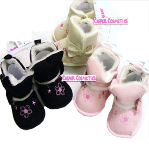 Black or Beige 3 Sizes 6-15mths Baby Fur Trim Boots Daisy /& Bow Detail in Pink