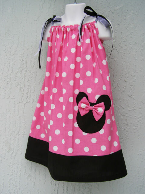 Girl Pillowcase Dress Minnie Head Applique Size 4 6 8 10 12 Handmade Ship Fast
