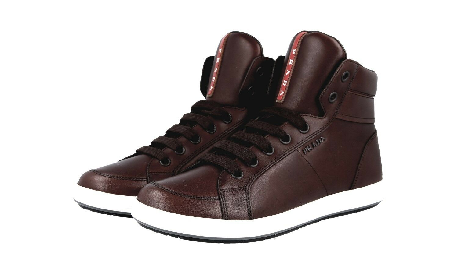 LUXUS PRADA HIGH TOP SNEAKER SCHUHE 4T2842 brown NEU NEW 9,5 43,5 44