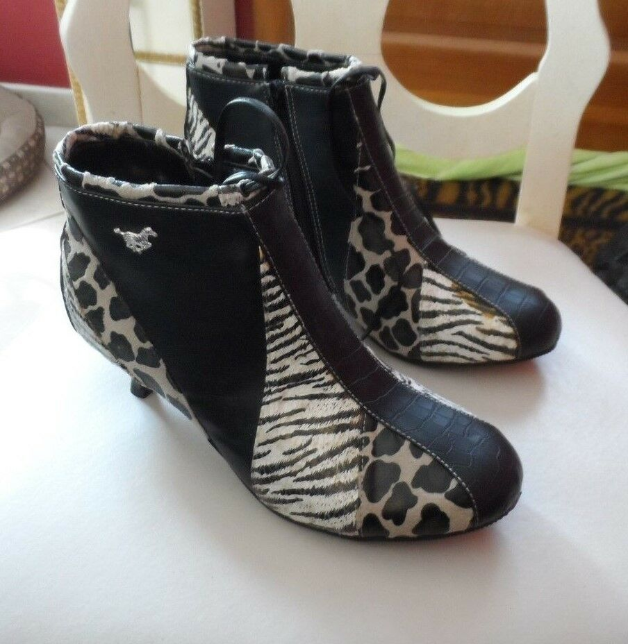 NEW IN BOX SAINT FRANCIS COUTURE LEATHER BOOTIES ANIMAL PRINT SZ 9.0