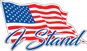 Image is loading I-Stand-American-Flag-Decals-Stickers-for-Car-