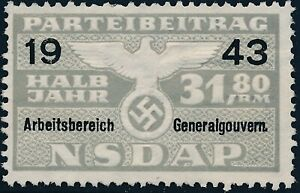 Stamp-Germany-Revenue-Poland-WWII-1943-3rd-Reich-War-Era-Party-Due-GG-31-80-MNG