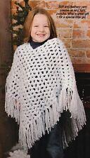 SOFT Child's Fluffy Poncho/Crochet Pattern INSTRUCTIONS ONLY
