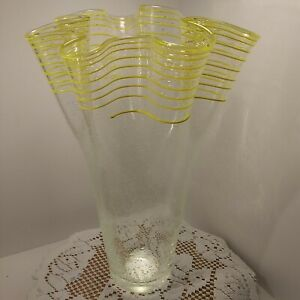 Large Art Glass Hand Blown Clear Vase  Yellow Swirls And  Air Bubbles. Beautiful