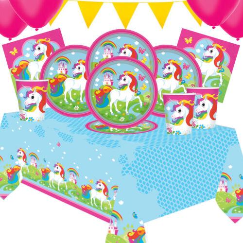 Kit De Fiesta Diversión Unicornio 5 para niños de 8 a 16Vajilla y Decoración Fiesta