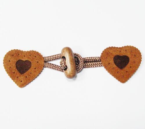 6.90 euros//unidad niños knebelverschluss corazón marrón claro