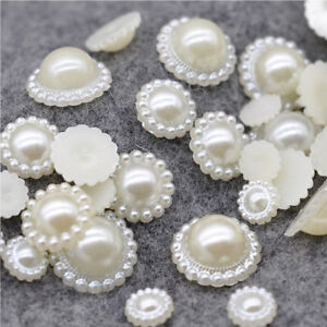 Flatback-Half-Round-Imitation-Pearl-Sunflower-Shape-Embellishment-Garment-Beads
