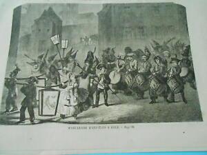 Adaptable Gravure 1860 - Mascarade D'enfants à Bale