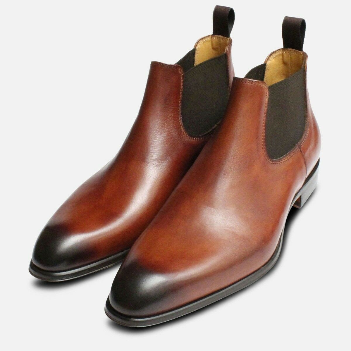 Mens Beatle Boots in Chestnut Brown Leather